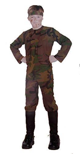 Boys' Delta Force Costume Set, Medium (M) Size, 8 - 10, Green Camouflage Jumpsuit and (Disfraz Militar Halloween)