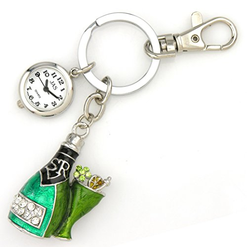 Champagne Bottle - Silver Tone Novelty Belt Fob/keychain Watch (Dom Perignon Gift)