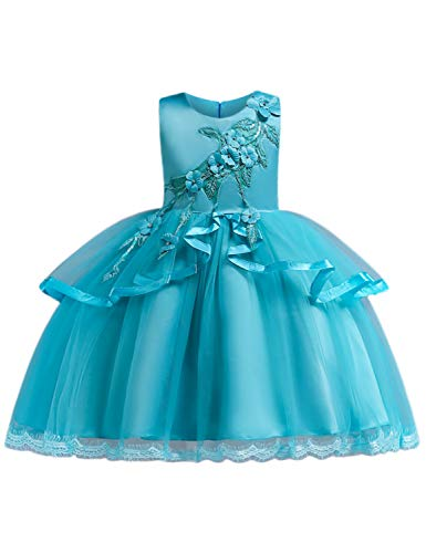 Satin Christening Dress Tulle (Blevonh Elegant Dresses for Girls Big Child Satin Soft Tulle Bridesmaid Ruffles Daddy-Daughter Party Dress Kids Ball Gown Size(140) 8-9 Years Blue Dresses)