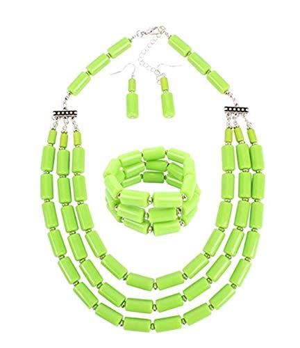 Lanue Fashion Handmade Bead Multilayer Statement Necklace Bracelet Earrings Jewelry Set (Green) ()