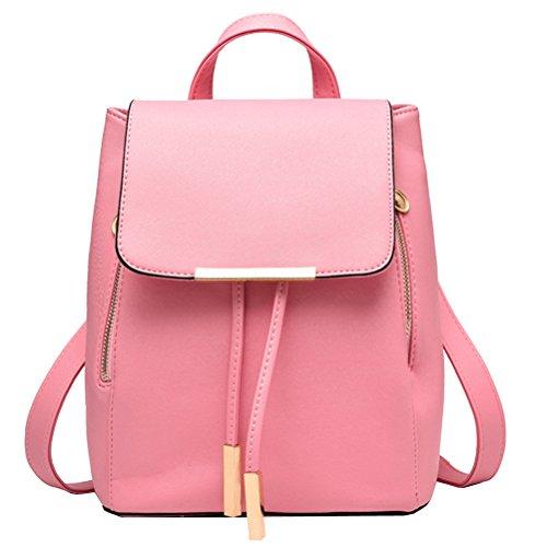 Vusum Women's Casual Travel Backpack Shoulder Bag Black Pink