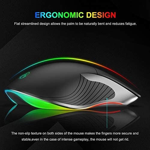 Black X6 Wired Mouse 6-Button Colorful RGB Gaming Mouse Color : Black
