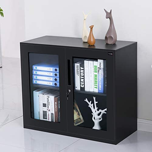 Amazon Com Small Size Office Cabinet Black Color With Two Layer Lockable 30 Glass Door Black Furniture Decor