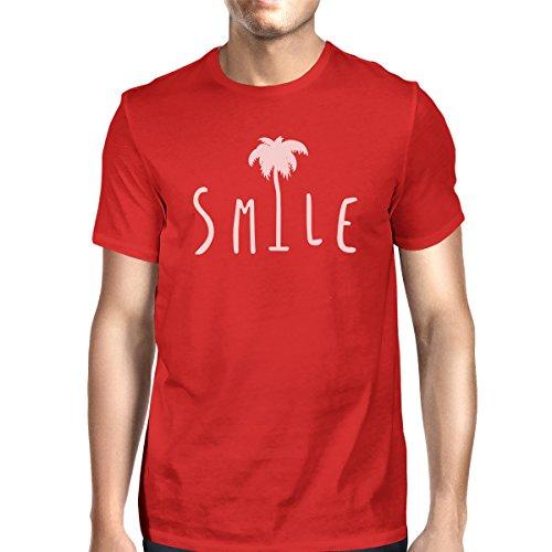 palmera 365 para Camiseta roja talla corta Printing sonrisa camisa hombre manga de una OvBrO