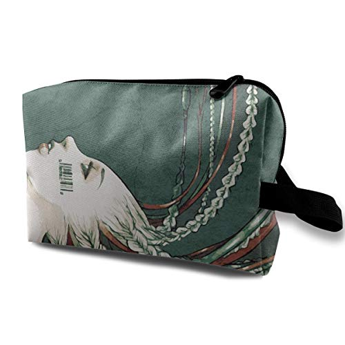 With Wristlet Cosmetic Bags Girl With Willow Hair Travel Portable Makeup Bag Zipper Wallet Hangbag