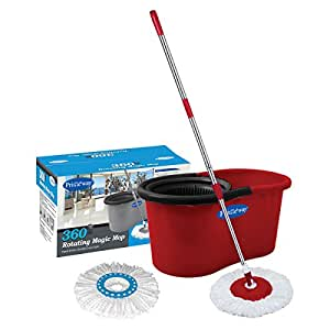 Primeway 360 Rotating Magic Mop and Bucket with 2 Microfiber Mop Heads, Solid Red