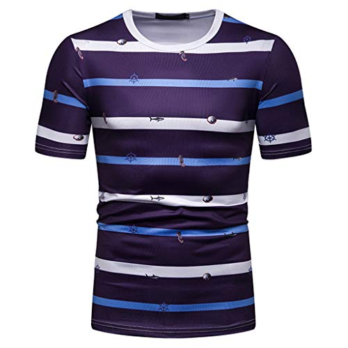 (O Neck Tie Tops,Men's Fashion Short Sleeve Stripe Painting Large Size Casual Top Blouse Shorts,Blue,2XL)