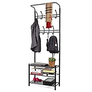 HOMFA Metal Entryway Coat Shoe Rack 3-tier Shoe Bench with Coat Hat Umbrella Rack 18 Hooks (Black)