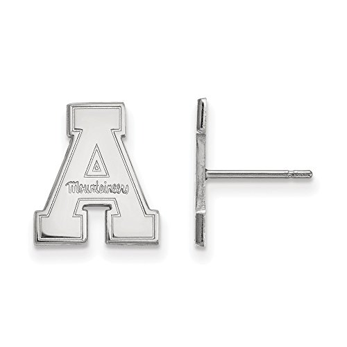 10k White Gold LogoArt Official Licensed Collegiate Appalachian State University (ASU) Small Post Earrings by LogoArt