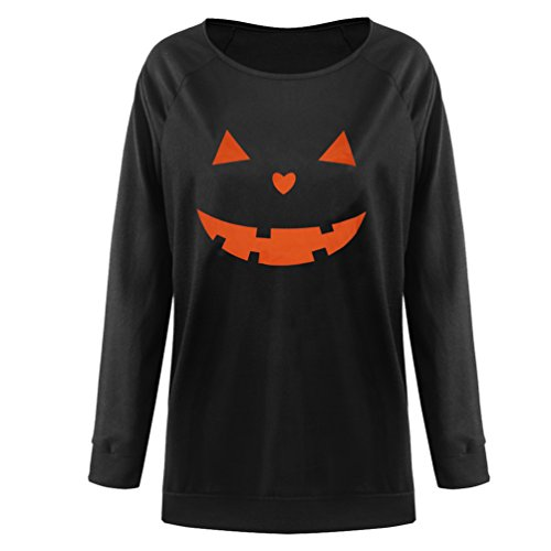 Rysly Womens Sexy Halloween Pumpkin Sweatshirts Pullover Costumes Plus Size L Black ()