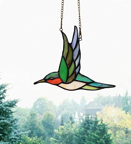 Makenier Tiffany Style Stained Glass Humming Bird Window Hanging Sun - & Price Co Tiffany