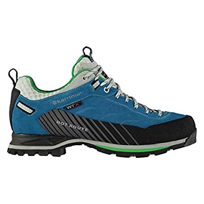 Karrimor Mens Hot Route WTX Walking Shoes Waterproof Lace Up Breathable Leather Blue/Green UK 9 (43)