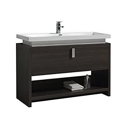 levi 48 inch modern bathroom vanity with cubby hole grey oak rh amazon com White Modern Bathroom Vanities White 48 Inch Bathroom Vanities with Tops