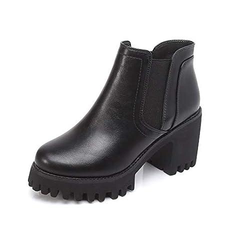 HOESCZS Zapatos para Mujer Four Seasons Botas para Mujer Abanico De Moda Grueso con Botines Un Pedal Botas De Tacón Alto Plataforma Impermeable Botas Martin ...