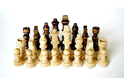 Wooden Replacement Chess Pieces Set: 32 Piece Weighted, Magnetic Wood Chessmen Pawns Only - No Board