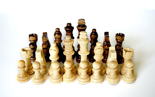 Wooden Replacement Chess Pieces Set: 32 Piece Weighted, Magnetic Wood Chessmen Pawns Only - No (French Chess Pieces)