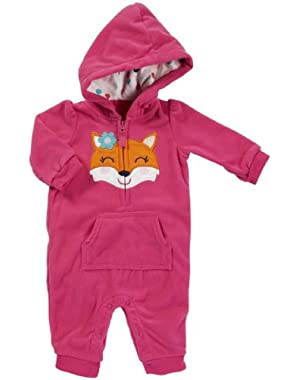 Hooded Microfleece Jumpsuit - Hot Pink Fox- 9 Months