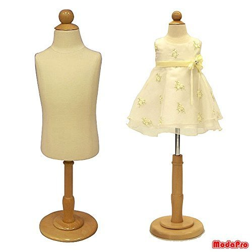 1 Year Old Child/Kids Body Dress Form Mannequin White Jersey Form Cover with Wooden Base(C1T) by Roxy Display Inc.