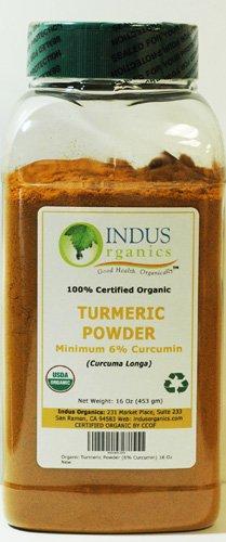 Indus Organics Turmeric (6% Curcumin) Powder, 1 Lb Jar, Premium Grade, High Purity, Freshly Packed …
