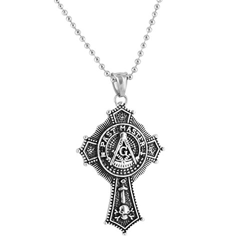 Freemason Past Master Pendant Necklace White Moon Cut Stainless Steel Brand New