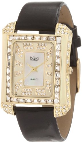 Burgi Women's BUR063YG Rectangular Mother-Of-Pearl Crystal Watch