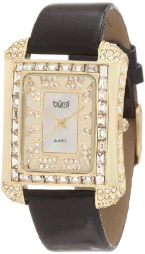 Burgi Women's BUR063YG Rectangular Mother-Of-Pearl Crystal Watch