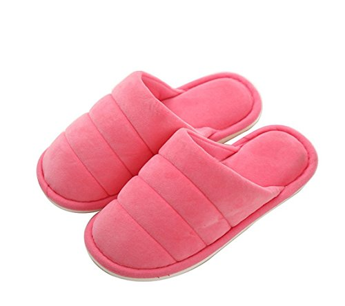 Fansela(TM) Unisex Casual Cozy & Comfortable Winter Warm Anti-slip Cotton House Slippers Red