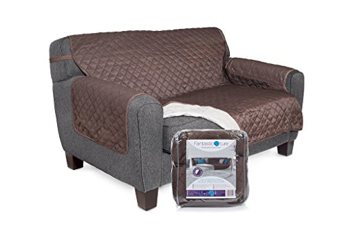 Fantastic-ture Furniture Protector Cover for Couch or Sofa: Reversible, Water Resistant Quilted Fabric Covers for Cushion & Armrest - Small, Chocolate Brown/Beige