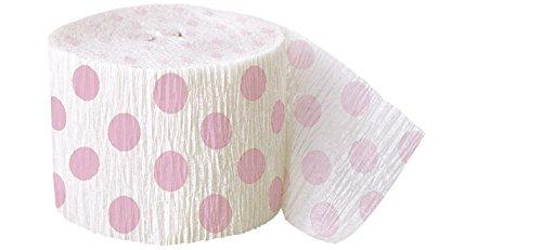 30ft Light Pink Polka Dot Crepe Paper Streamers]()