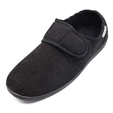Hotme Men's Cozy Memory Foam Slippers with Adjustable Strap,Extra Wide Width Diabetic Arthritis Edema Swollen Feet House Shoes Indoor Outdoor Anti-Skid Rubber Sole Black Size: 8