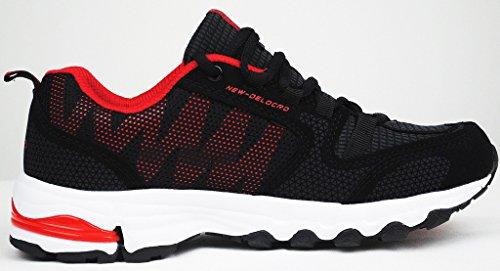 iLoveSIA-Delcord Hombre Zapatillas de running multisports outdoor Negro + Rojo