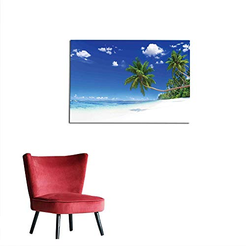 kungfu Decoration Wall Paper Ocean,Paradise Beach in Tropics Exotic Hot Summer Day with Clear Sky Landscape Photo,Blue White Green Funny Poster W47.2 x L31.5 ()