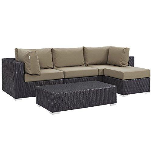 Modway Convene Wicker Rattan 5-Piece Outdoor Patio Sectional Sofa Furniture Set in Espresso Mocha