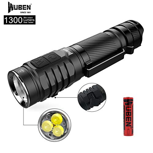 (WUBEN 1300 High Lumens Flashlight CREE XP-G3 LED Rechargeable IPX8 Waterproof Flashlight Dual Switch Torch 7 Modes with 18650 Battery Included)