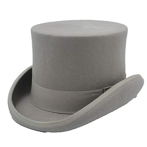 Children Wool Top Hat for Girl Boy Hatter Magician Hat Kids Sam Beaver Church Hat for 4-12 Years Top 13.5CM Gray - Magician Stone Set