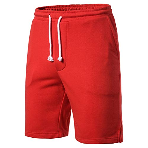 (SIR7 Men's Summer Sports Sweat Shorts,Casual Cotton Front Flat Shorts Red)