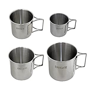 BeGrit Camp Cup and Mug Set for Backpack Camping Hiking Stainless Steel with Foldable Handle Pack of 4