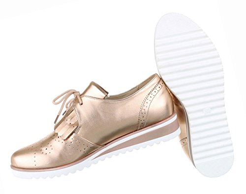 Damen Schuhe Halbschuhe Business Schnürer Schwarz Gold