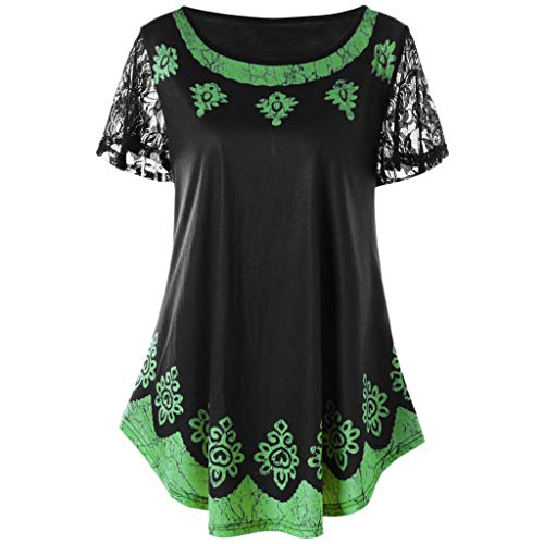 TANLANG New Women's Short Sleeve T-Shirt Floral Print Casual Lace V Neck Henley Tank Tops Blouse Shirts Tunic Plus Size Green ()