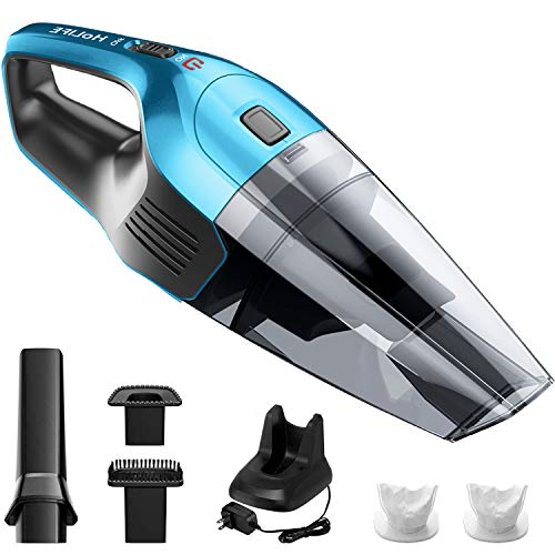 Holife Handheld Vacuum Cordless Cleaner Rechargeable, 14.8V Portable Powerful Cyclonic Suction Hand Vacuum with Quick Charge, Lightweight Wet Dry Lithium Vac for Home Pet Hair Car Cleaning(Blue)