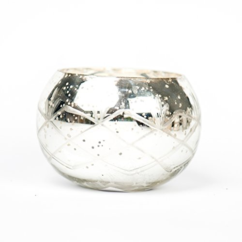 Insideretail Round Mercury Glass Silver Tea Light Holders with Distressed Silver Foil, 10cm, Set of 3
