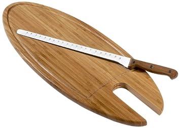 Tagliere per salmone, in legno di bambù massiccio, con coltello ...