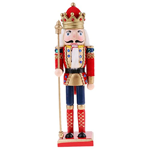 MagiDeal - Figura de cascanueces de madera de 30 cm con diseño clásico de soldado rey, para decoración del hogar, regalo...