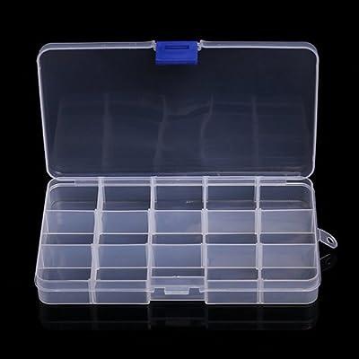 CTGVH - Caja separadora de Joyas, Organizador Ajustable, 15 Compartimentos/Ranura de Rejilla de plástico, Caja de Almacenamiento, Joyería, Herramienta, contenedor, Organizador (Blanco): Amazon.es: Hogar