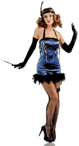 Womens Jazz Flapper Costumes (Delicious All That Jazz Flapper Costume, Blue, X-Small)
