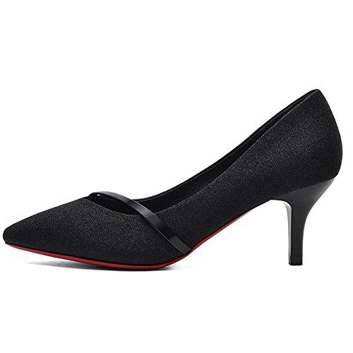 Chaussures Cats Mariage 6cm Travail Femmes 37 Party EU Chaussures 5 UK 4 Chaussures Haute Black Cour Mode Noir Sexy Femme Talons De Nightclub gv0AfO
