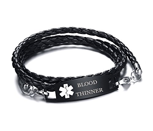 XUANPAI Blood THINNER Multilayer Braided Leather Bangle Medical Alert ID Bracelet for Womens Mens