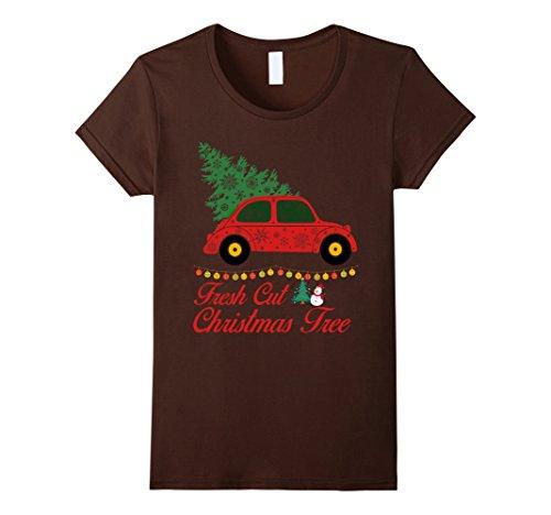 Down On The Farm Costume (Womens Fresh Cut Christmas Tree T-Shirt Funny Xmas Cut Tree Day Tee Medium Brown)