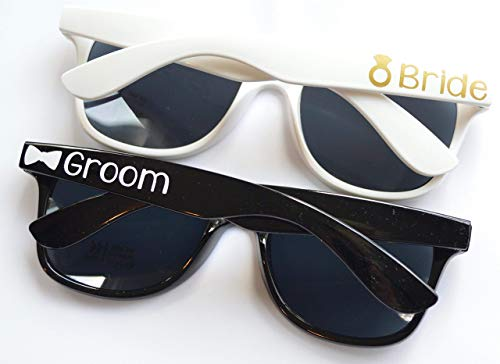 Bride Sunglasses and Groom Sunglasses Set by BellaCuttery for Honeymoon or Destination Wedding]()
