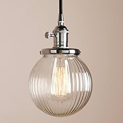 Industrial Edison Vintage Style 5.9 inch Round Clear Stripe Glass Globe Shade Hanging Pendant Light Fixture with Fabric Wrapped Cord Exposed Hardware by Pathson Lights